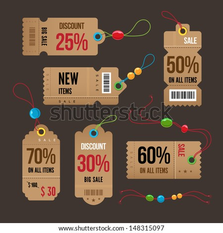 Price and sale tags retro color design, vector illustration. - stock vector