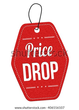 Price drop red leather label or price tag on white background, vector illustration - stock vector