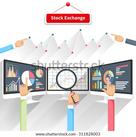 Price movement. Stock exchange rates on monitor. Profit graph diagram. Electronic stock numbers. Profit gain. Business stock exchange. Live online screen. Concept on white background in flat design - stock vector
