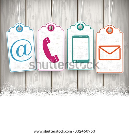 Price stickers on the wooden background. Eps 10 vector file. - stock vector