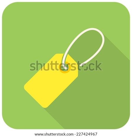 Price tag (flat design with long shadows) - stock vector