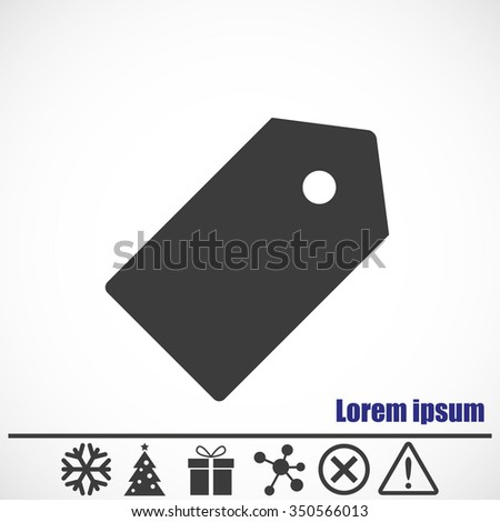 Price tag icon.Bonus icons: snowflake, Christmas tree,gift,molecule,delete icon and Hazard warning attention sign. - stock vector
