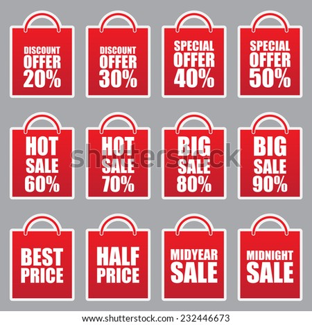 price tag red labels and stickers - stock vector