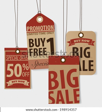 Price tag, sale coupon, voucher. Vintage Style template Design vector illustration. - stock vector