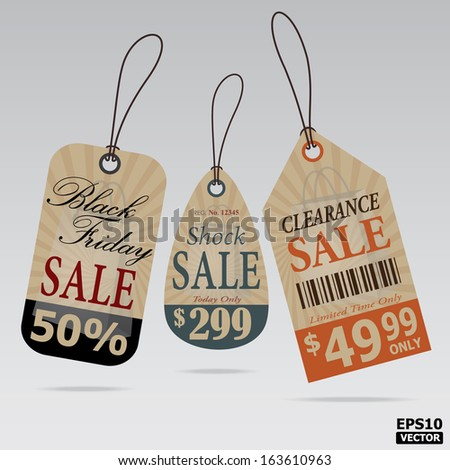 Price tags Vintage Style Design for business and e-commerce.-eps10 vector - stock vector