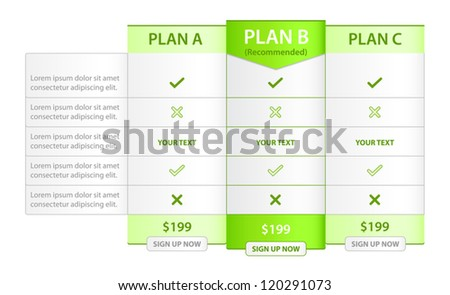 Pricing List with Recommended Option - stock vector