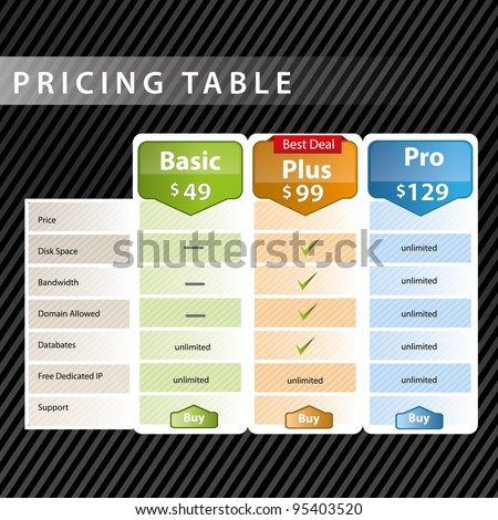 Pricing table design - stock vector