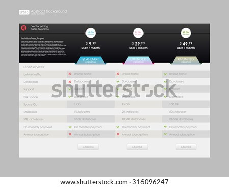 Pricing table  hosting Plans or mobile tariff. Three tariffs web banner. Interface for site, ui, app. Pricing table, banner, order, box, button, list and bullet with plan for website in flat  style - stock vector