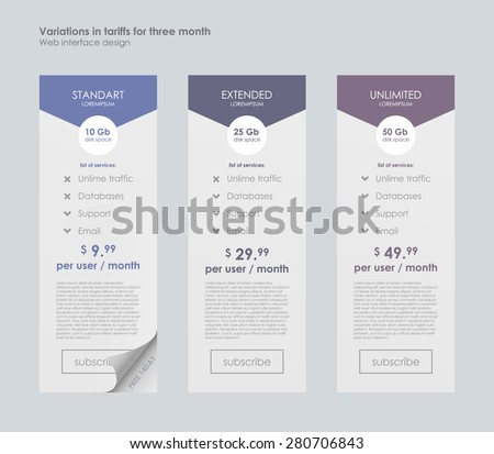 Pricing Table Template with Three Plan Type. Graphic Design on Gray Background. Three tariffs. interface for the site. ui ux vector banner for web app - stock vector