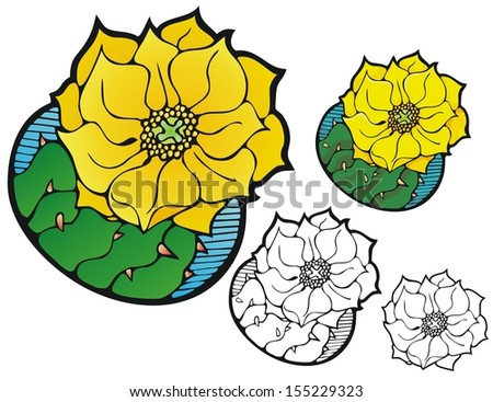 Prickly pear cactus flower, with variations - stock vector