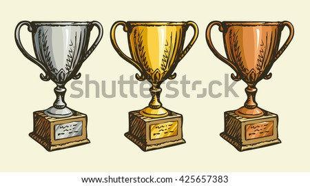 Pride old rank won player status vase isolated on white backdrop. Freehand outline ink hand drawn scribble picture sketch in art retro scribble style pen on paper - stock vector