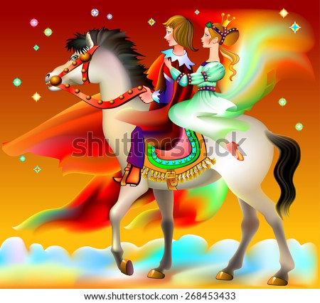 Prince and princes riding on horse, vector cartoon image - stock vector