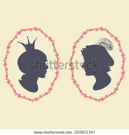 Prince and princess vector silhouette portraits in floral frames - stock vector