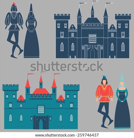 Prince, princess and castle - stock vector