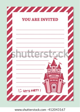 Princess Birthday Party Invitation Card Template With Stripped Border And Castle Clip art - stock vector