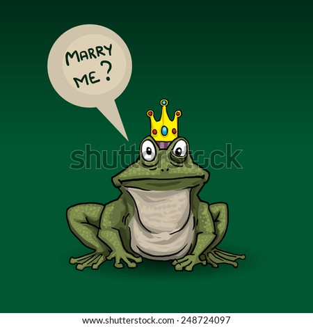 Princess frog, with speech bubble, marry me, vector illustration - stock vector