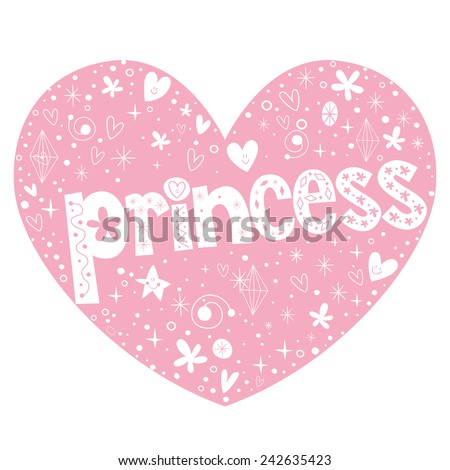 princess heart shaped lettering design - stock vector