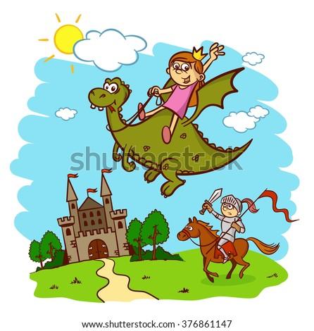 Princess, knight, horse, rider, dragon, castle, fairy tale - stock vector