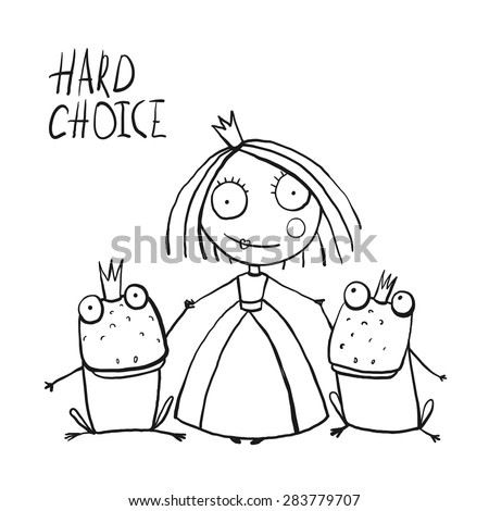 Princess Making Choice between Two Prince Frogs Coloring Page. Fun childish hand drawn outline illustration for kids fairy tale. - stock vector