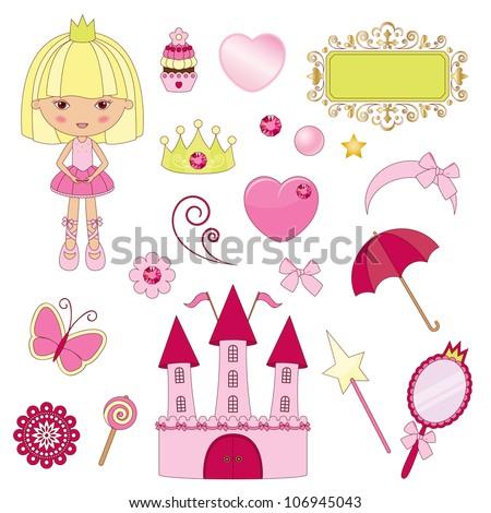 Princess pink set - stock vector