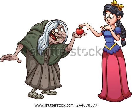 Princess with skin as white as snow getting an apple from an old witch. Vector clip art illustration with simple gradients. Each on a separate layer. - stock vector