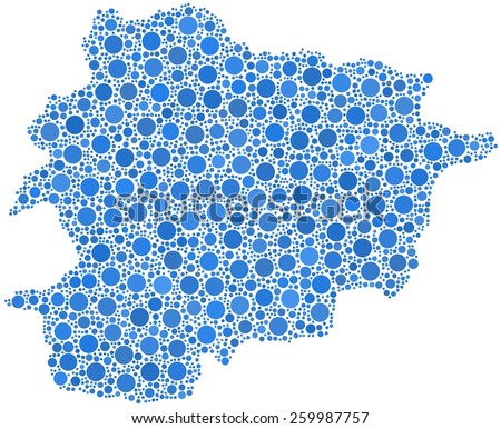 Principality of Andorra - Europe - in a mosaic of blue circles - stock vector