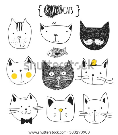 Print cat. Set of cute doodle cats . Sketch cat . Character cat. Cat handmade . Print T-shirts for the cat . Cats vector . Kids Doodle animals . Stylish muzzle cats . Isolated cat. Anime cat - stock vector