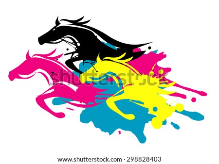 Print colors as running Horses. Three running horses as splatters in printing inks. Concept for presenting of color printing.. Vector available.  - stock vector