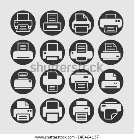 Print icons - stock vector