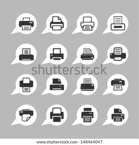 Print icons for web - stock vector