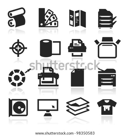 Print icons set elegant series - stock vector