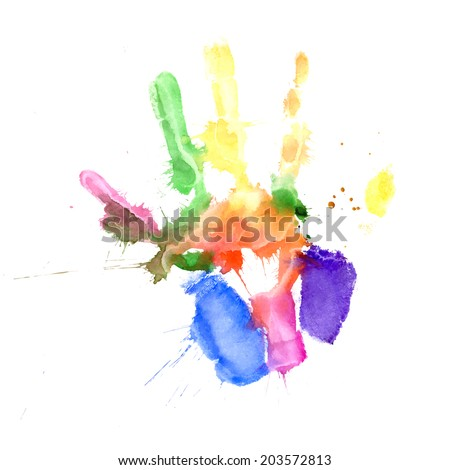 Print of a hand painted in several colors on white background - stock vector
