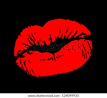 Print of red lips on black background. Vector illustration. - stock vector