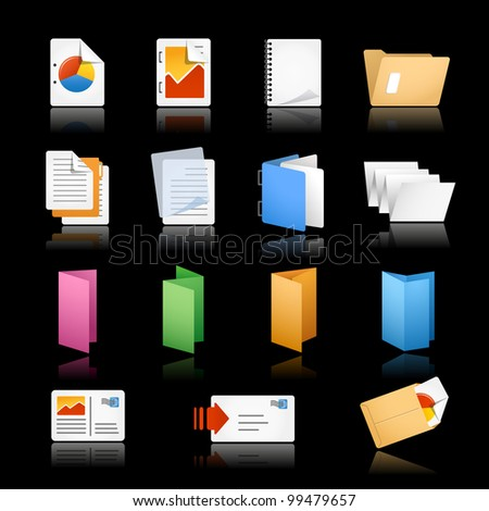 Print & Office Icons / / Black Background - stock vector
