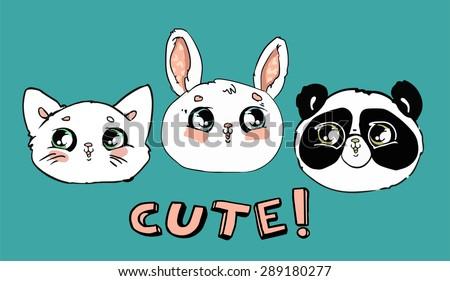Print on children's T-shirt. Print children, cute. cat, panda, rabbit vector illustration - stock vector