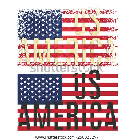 Print Poster Apparel T shirt design  American flag EPS10 - stock vector