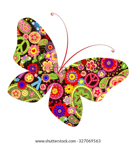 Print with butterfly with hippie symbolic - stock vector