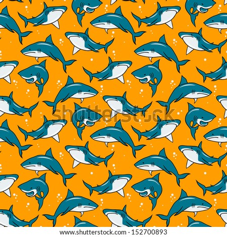 Print with cartoon sharks on orange background. Vector seamless pattern. - stock vector