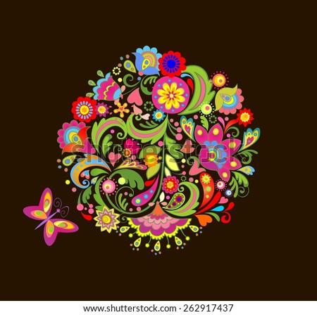 Print with colorful summer flowers - stock vector
