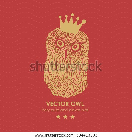 Print with cute and clever owl in crown. Vector illustration. - stock vector