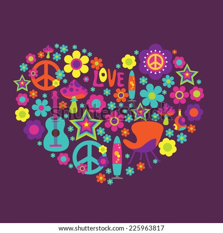 Print with floral heart  and psychedelic elements - stock vector