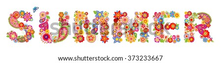 Print with summer flowers - stock vector