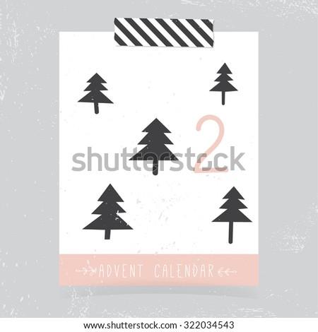 Printable Christmas Advent Calendar | Countdown to Christmas |  2 - stock vector