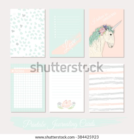 Printable cute set of filler cards with flowers, unicorn, polka dots, stripes. Vector templates for posters, flyers, banner designs, journal cards, scrapbook, planner, diary journaling. - stock vector