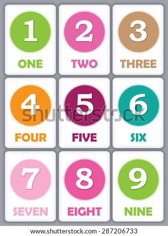 Printable flash card collection for numbers and their names for preschool / kindergarten kids | let's learn numbers - stock vector