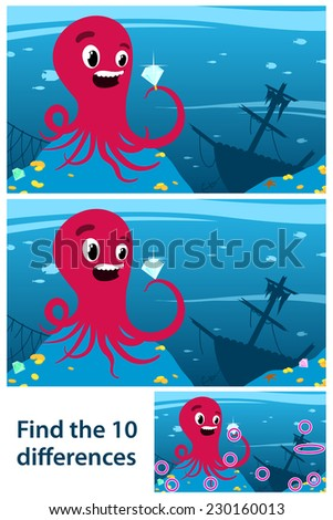 Printable game for children meant to stimulate intuitive learning by finding the differences between two similar drawings of an octopus looking at a gemstone, next to a wreck of a ship on the seabed - stock vector