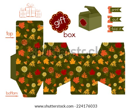 Printable gift box with bright Autumn leaves. Template for cubic gift box with lid. Easy for installation - print, cut, fold it. Label and decorative elements added. Vector file is EPS8. - stock vector