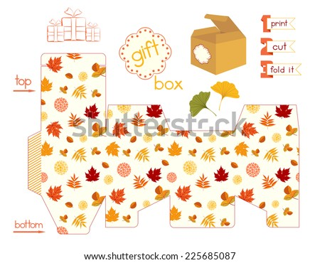 Printable gift box with colorful Autumn leaves. Template for cubic favor box with lid. Fall leafage colors. Easy for installation - print, cut inside red line, fold it. Vector file is EPS8. - stock vector