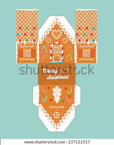 Printable gift gingerbread house with christmas glaze elements. Template for 3 d house. Easy for installation - print, cut, fold it. House 3 d Paper Craft.Vector picture 3d shapes for children. - stock vector