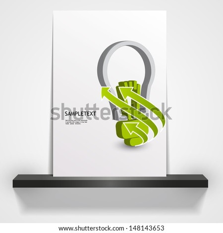 printable green eco magazine or flyer cover, 3d Light Bulb illustration  - stock vector